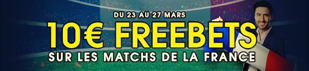 Matchs amicaux de l'équipe de France de foot entre le 23 et le 27/03 sur NetBet