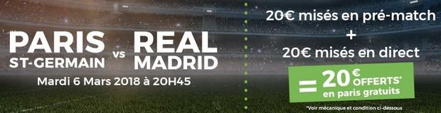 20€ par ParionsSport sur le 8ème de final de Ligue des Champions PSG-Real
