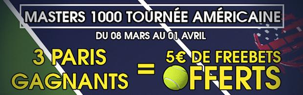 Placez 3 paris gagnants et obtenez 5€ lors des Masters 1000 de la tournée US 2018 sur NetBet