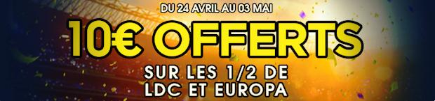 Cashback de 10€ par rencontre de foot européen entre le 24 avril et le 3 mai du NetBet