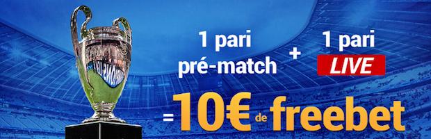 Bonus de 10€ offerts sur France Pari lors des quarts aller de la LdC