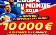 Pariez en combiné sur la CdM 2018 avec Genybet : 10.000€ offerts si la France gagne le tournoi