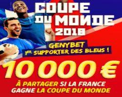 Cagnotte de 10.000€ en jeu sur Genybet lors du Mondial 2018