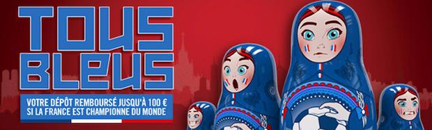 """Promo """"Tous Bleus"""" sur Winamax à l'occasion de la Coupe du monde de football 2018"""