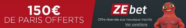 bonus 150€ offerts sur Zebet.fr