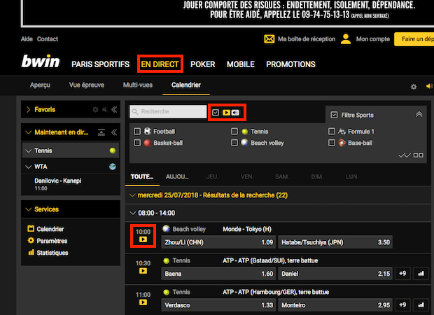 Service de streaming en direct de Bwin