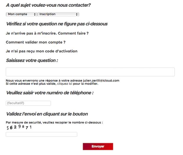 Formulaire de contact Betclic