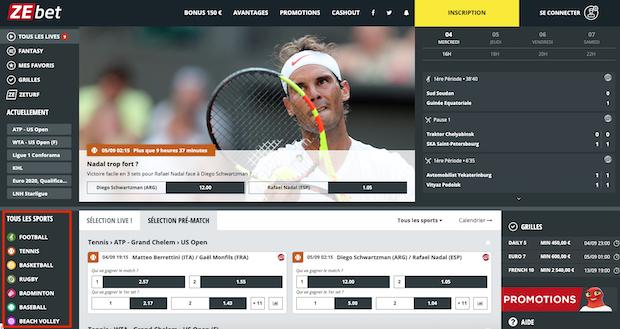 Ecran principal de ZEbet Sport