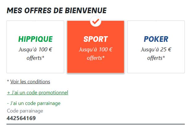 Indiquez le code de parrainage sur PMU.fr