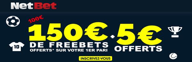 NetBet bonus sport de 155 euros