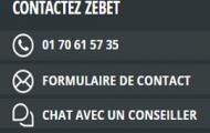 Comment contacter ZEbet : par e-mail, téléphone, messagerie instantanée, courrier et formulaire d'aide