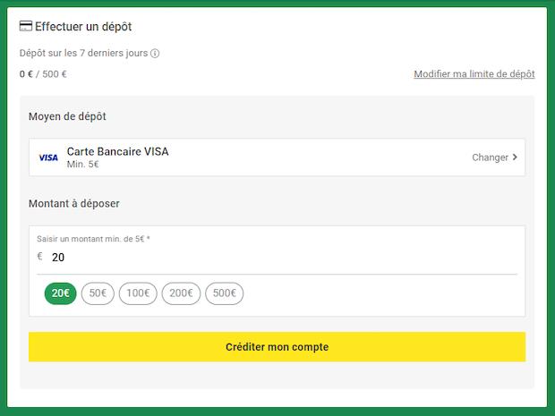 Créditez votre solde Unibet à partir de 5€