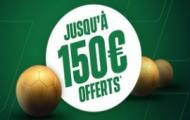 Bonus Unibet France : 150 euros de paris gratuits offerts à l'inscription sur Unibet.fr